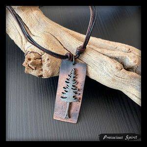 Pine tree pewter antique copper necklace on cord
